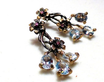 Earrings unique with blue Topazes and pink tourmalines