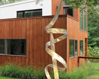"Contemporary Modern Abstract Metal Indoor Outdoor Garden Sculpture Silver Gold Copper Large ""Hypnotic"" by Dustin Miller"