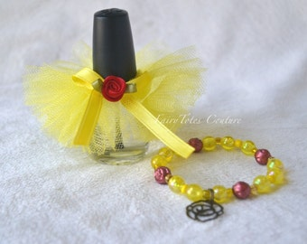 Belle Inspired Bracelet & Nail Polish Tutu Set - Belle Inspired Party Favor