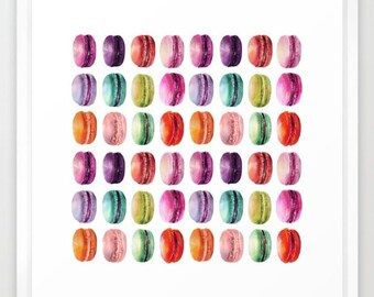 Macaron Watercolor Print French Macaroon art Paris print watercolor art colorful macaron pattern decor macaroon illustration gifts under 20