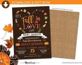 Fall Baby Shower Invitation, Pumpkin Fall In Love Baby Shower Invite, Burlap Autumn Shower, Instant Download DIY Edit Yourself