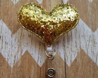 Gold Glitter heart badge reel, heart badge reel, Nurses badge reel, teacher badge reel, Gold Heart Badge Reel, Nurses gift, ID  badge reel
