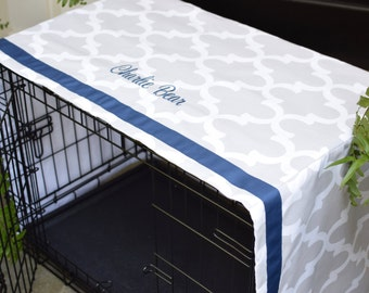 Crate Cover French Grey Quatrefoil with Navy Name || Dog Kennel Cover || Personalize with Pet Name || Custom Gift || Three Spoiled Dogs
