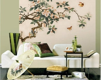 Sketch flowers wallpaper black and white poetry floral wall crabapple blossoms wallpaper butterfly wall decal art bedroom living room spring branch wall mural voltagebd Image collections