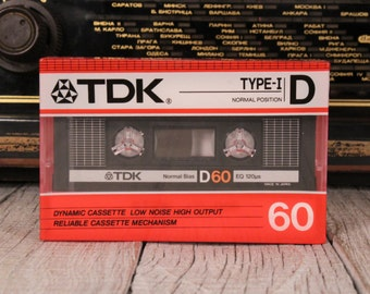 New TDK D60 High Output Blank Cassette Tape / TDK Cassette Tape Type 1 / Unopened Audio Recording Cassette Tape / Blank Audio Cassette
