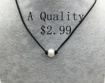1.99 USD Pearl Choker Leather Necklace, bracelet,White Freshwater pearl, Black Leather Pearl necklace,LIGHT BROWN,Le3-036