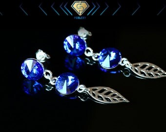 Swarovski Earrings, Swarovski Rivoli Earrings, Blue Rivoli Earrings, Silver Leaf Earrings, Blue Dangle Earrings, Blue Sapphire Earrings