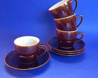 4 Villeroy & Boch Vintage Brown Demitasse Coffee Cups Pottery Espresso