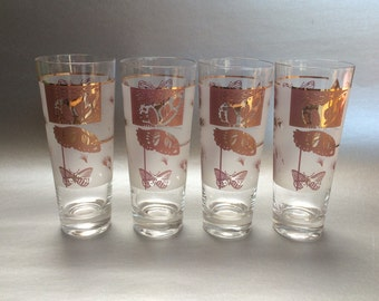 Set of Four Tall Vintage Butterfly Tumblers Glasses MidCentury Modern
