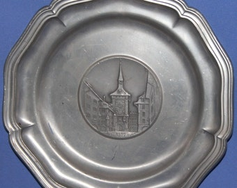 Hand Made Sigg Switzerland Pewter Wall Decor Plate