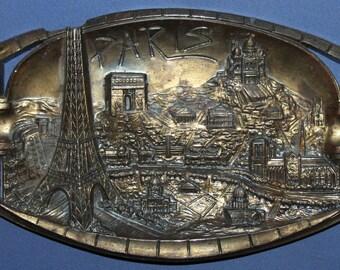 Vintage French Souvenir Ornate Metal Ashtray /Plaque