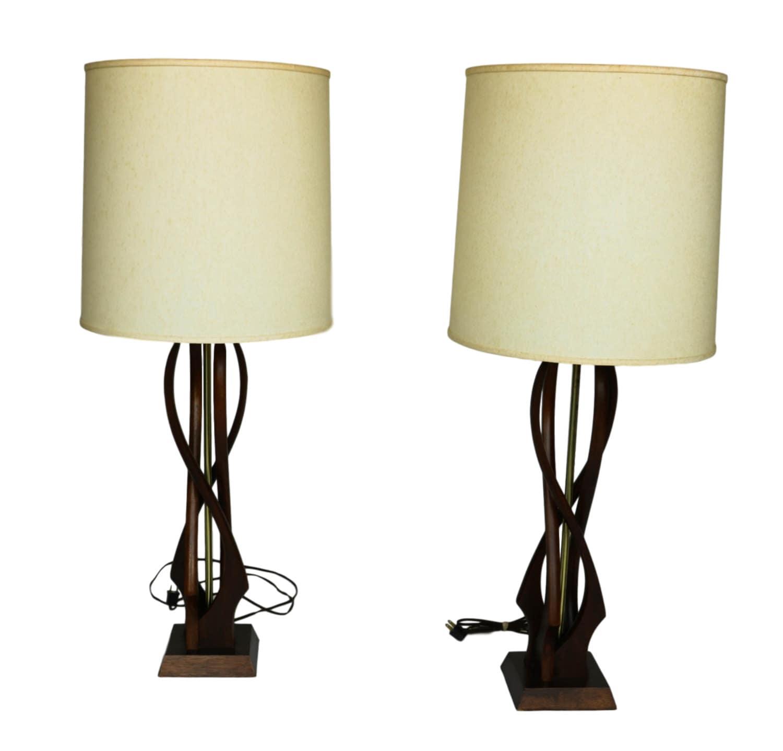 pair mid century modern teak wood kagan style lamps