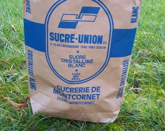 Kraft paper bag coming from a french old sugar factory vintage  Made in France