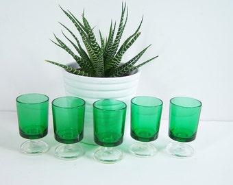 5 shot glasses Luminarc green stemmed glass vintage  Made in France