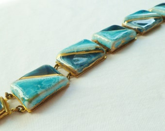 Vintage Art Deco Modernist Ceramic Bangle Bracelet. Art Pottery Chunky Bracelet. 1930's Ruskin style Bracelet.