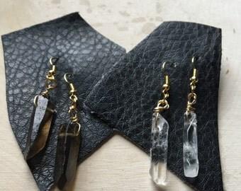 Crystal Earrings, Smokey Quartz and Clear Quartz Drop Earrings