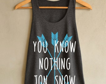 You Know Nothing Jon Snow Arrow Design Shirt  Tank Top Dark Gray Women Size S M L
