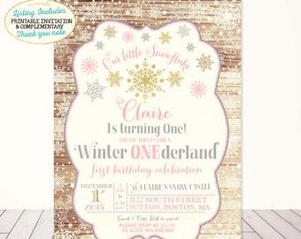 Winter ONEderland Invitation Winter Wonderland Invitation Winter Birthday Snowflake Birthday Rustic ONEderland Birthday Pink Gold White