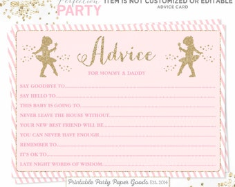 Ballerina Baby Shower Advice Card Ballerina Baby Shower Parent Advice Cards  Tutu Advice Card Pink Gold
