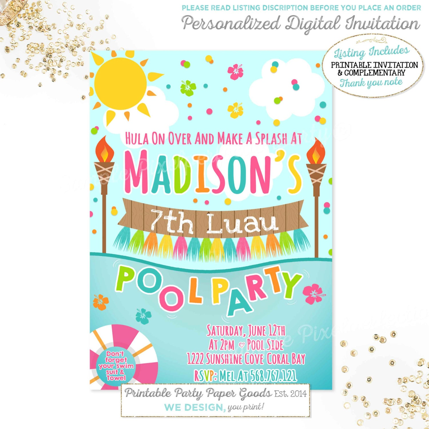 Luau invitations – Tropical Birthday Invitations