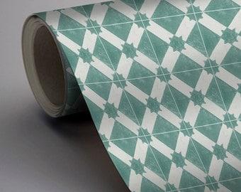 Moroccan Riad Wallpaper in Emerald  Removable Vinyl Wallpaper - Peel & Stick - No Glue, No Mess