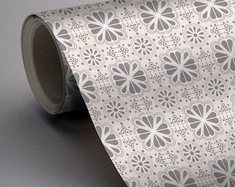 Mexican Domino Wallpaper in Grey Removable Vinyl Wallpaper - Peel & Stick - No Glue, No Mess