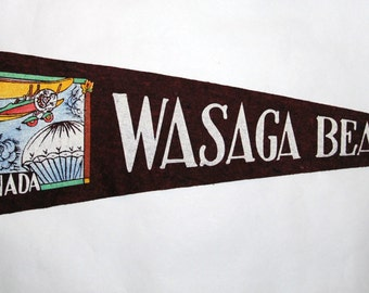 Genuine Vintage Original 1930s-'40s Felt Pennant from Wasaga Beach Ontario  -- Free Shipping!