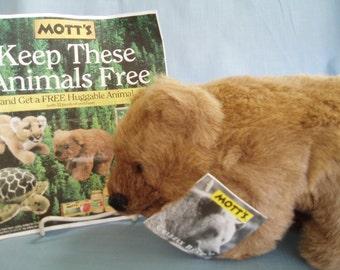 Mott's Applesauce Grizzly Bear Plush Toy Animal