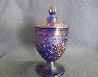 Imperial Cobalt Blue Iridescent Candy Dish with Lid in Grape Design