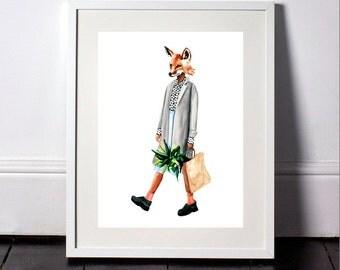 Animals in clothes-fox art print-fox in clothes-dressedfur-fox watercolor art print-nursery art-animal watercolor art print-fox art poster