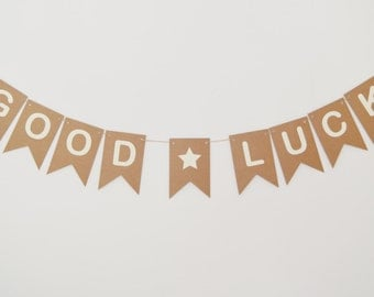 Good Luck Banner, Bon Voyage, Farewell, Rustic Bunting, Party Decoration