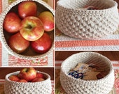 Round natural cotton twine crochet storage basket-gift basket handmade bowl-bathroom nursery baby storage basket-storage bin-crochet bin