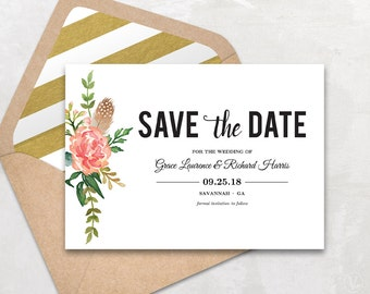 Printable save the date card template kraft save the date for Free online wedding save the date templates