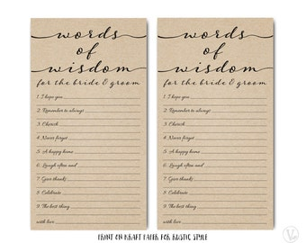 Printable Advice for the Bride and Groom Template,  Wedding Well Wishes Card, Mad Lib- Instant DOWNLOAD, 4.25 x 7.75, WBG03