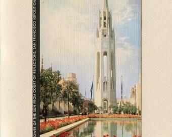 1939 San Francisco Bay California Postcard Golden Gate International Exposition Unused Linen Tower of the Sun by H S Crocker - 6487c