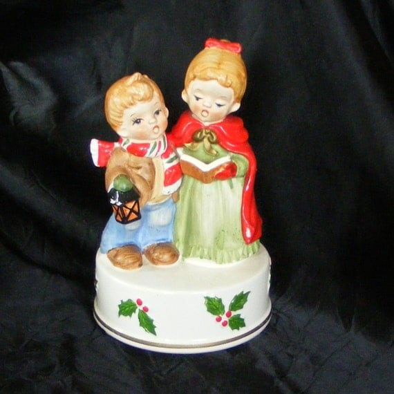 Singing Carolers Candleholders Figurines Vintage By: Vintage INARCO Christmas Musical Figurine Children Carolers