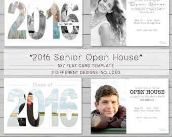 "2016 Senior Open House ""Combo"" 5x7 Flat Card Template for photographers - Includes 2 DIFFERENT looks"