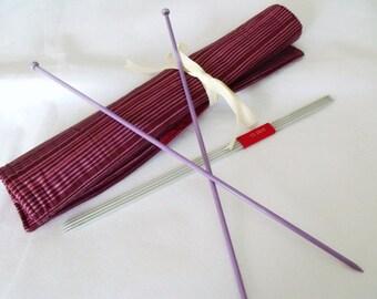 knitting needle roll, knitting needle holder, needle storage, knitting organizer, maroon cotton fabric