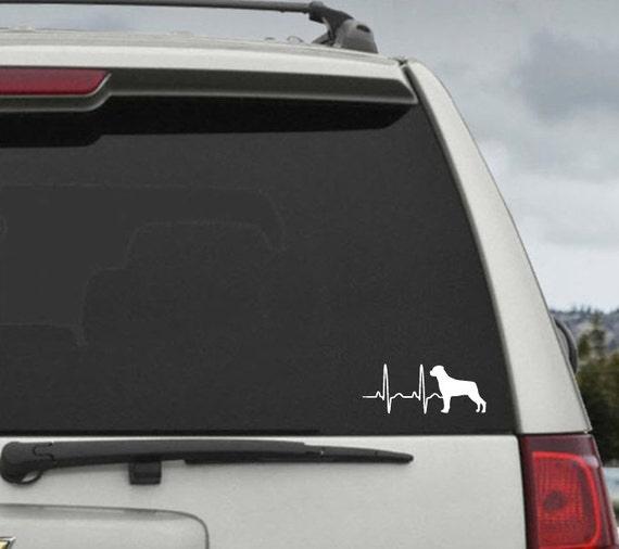 Rottweiler Heartbeat EKG  - Car Window Decal Sticker