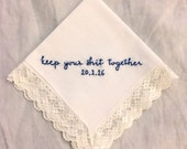 Gifts for the Bride, Vintage Inspired, Funny Embroidery, Something Blue, Something New, Gifts for Her, Wedding Accessories, Stitched Gift