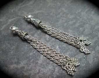 SALE Silver Tassel Pendants Set of 2 Antique Silver metal chain silver finish tassel charms 67 mm Bali style tassel