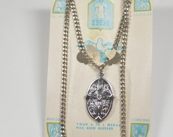 Vintage Religious Medal 6 In 1 Medal With Original Packaging St. Joseph Scapular Miraculous Medal St. Christopher Holy Ghost Crucifix Medal