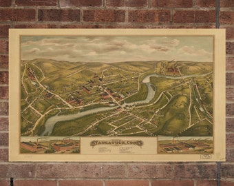 Naugatuck Connecticut Vintage Print Poster Map 1877 Poster of CT Map Art Wall Decor