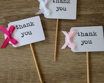 10x personalised thank you cupcake toppers picks flags
