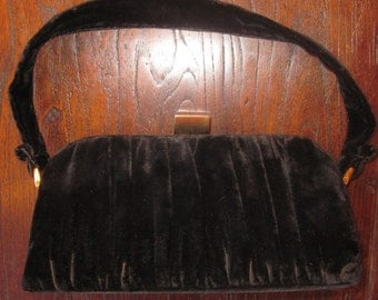 Vintage Jujber Black velvet purse with Gold Tone Hardware-MADE IN USA