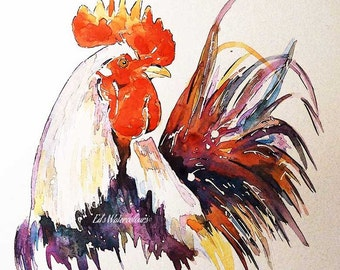 Rooster-  Watercolour Print