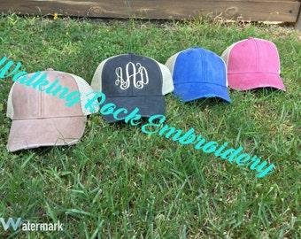Trucker hat - Distressed trucker hat - Trucker hat for women - Monogrammed Hat - Ladies Monogrammed Baseball Cap - Beach cap