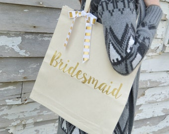5 Bridesmaid Bags - Bridal Party Tote Bags  - Set of 5 Bridesmaid Tote Bags - Personalized Tote - Bridesmaid Tote