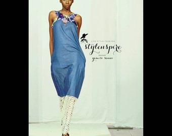New Collection | Ankara Denim Dress | DENIM LACE ÁLÀRÀ Dress | Sleeveless Kaftan | Maxi Dress