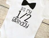 Half Birthday - 6 Month Baby Boy Outfit - Black Bodysuit - Photoshoot, Photo Prop Baby Shower Gift Onesie T Shirt Boys